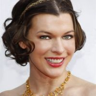 Mila Jovovich short hairstyles curly brunette